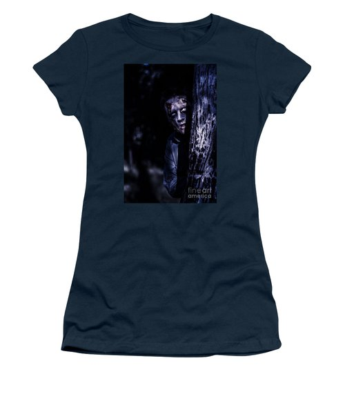 Dark Evil Zombie Watching From Horror Forest Women's T-Shirt