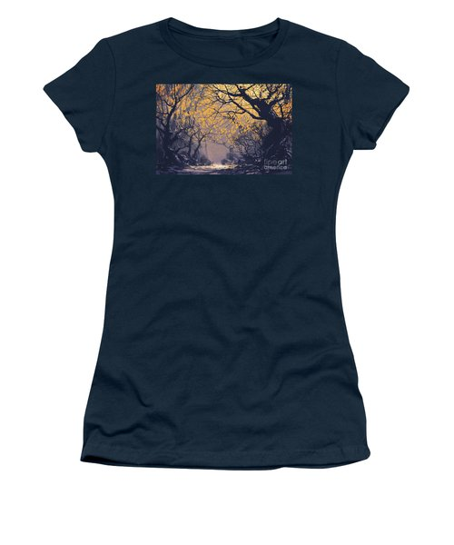 Women's T-Shirt featuring the painting Dark Forest by Tithi Luadthong