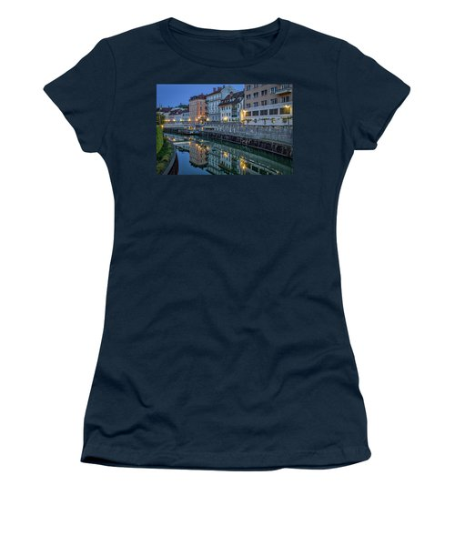 Women's T-Shirt (Athletic Fit) featuring the photograph Dawn River Reflections #3 - Slovenia by Stuart Litoff
