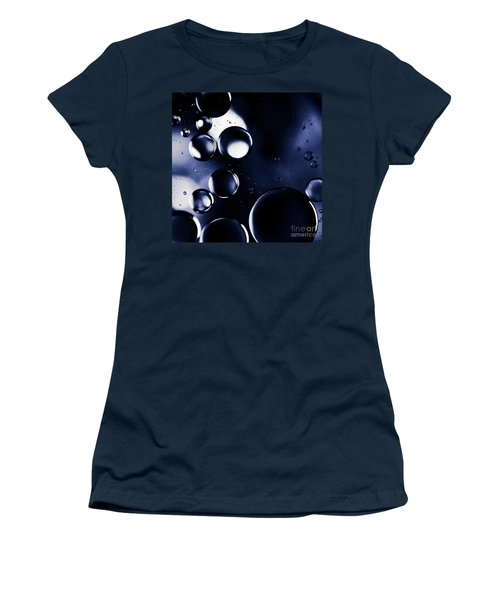 Women's T-Shirt (Junior Cut) featuring the photograph deep purple blue tones Macro Water Droplets by Sharon Mau