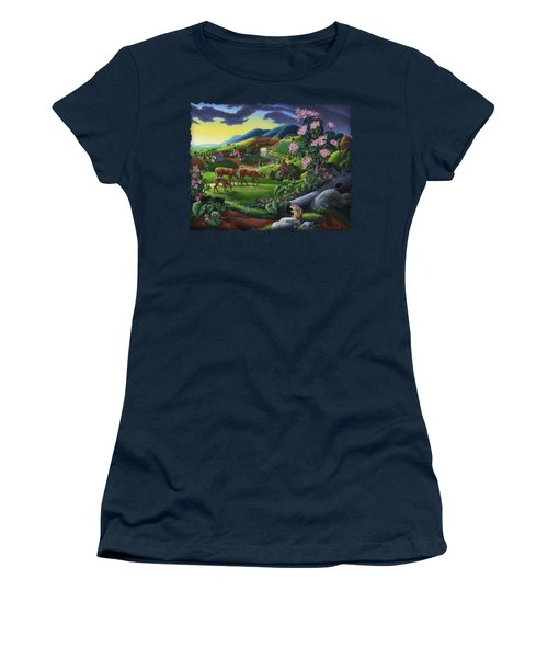 Deer Chipmunk Summer Appalachian Folk Art - Rural Country Farm Landscape - Americana  Women's T-Shirt