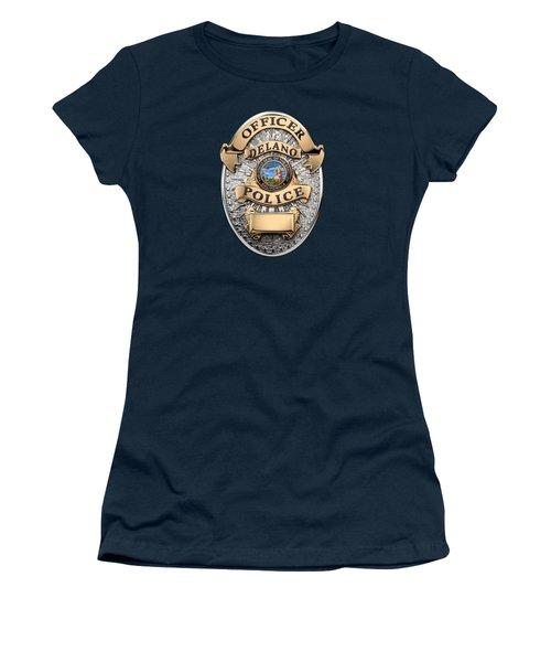 Women's T-Shirt (Junior Cut) featuring the digital art Delano Police Department - Officer Badge Over Blue Velvet by Serge Averbukh