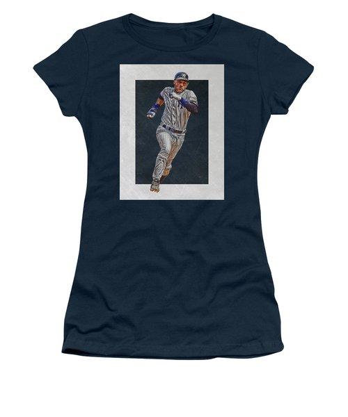 Derek Jeter New York Yankees Art 3 Women's T-Shirt (Junior Cut) by Joe Hamilton