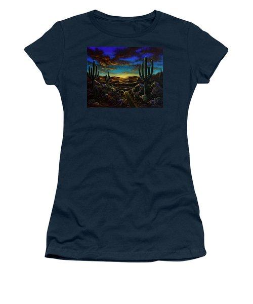 Women's T-Shirt (Junior Cut) featuring the painting Desert Trail by Lance Headlee