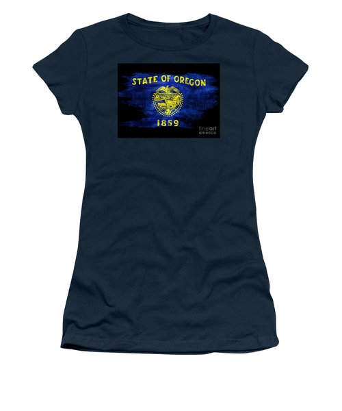 Distressed Oregon Flag On Black Women's T-Shirt (Athletic Fit)