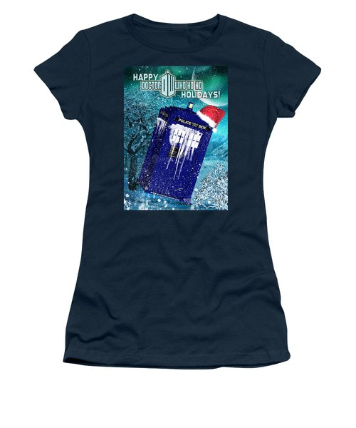 Doctor Who Tardis Holiday Card Women's T-Shirt