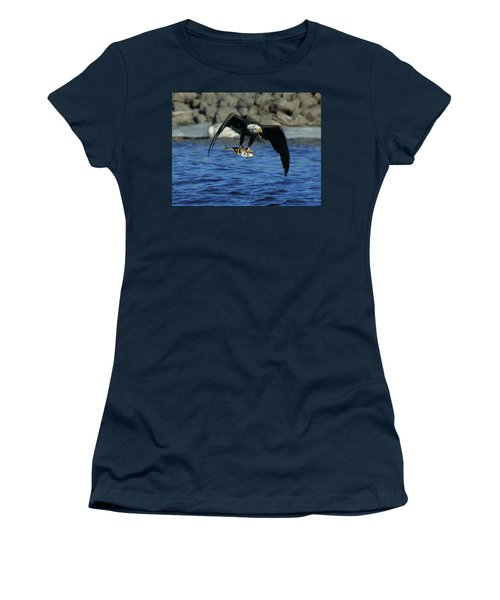 Women's T-Shirt (Junior Cut) featuring the photograph Eagle With Fish Flying by Coby Cooper