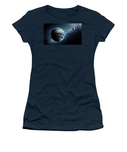Earth And Moon Space View Women's T-Shirt