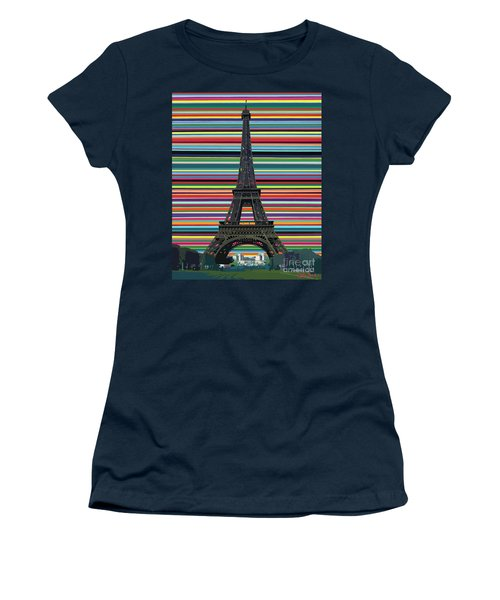 Women's T-Shirt featuring the painting Eiffel Tower With Lines by Carla Bank