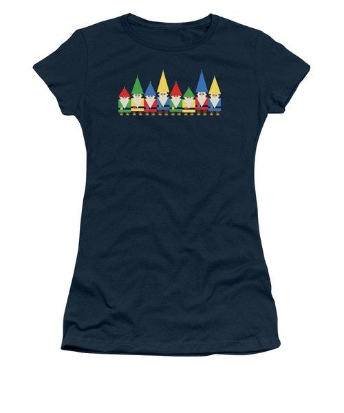 Elves On Blue Women's T-Shirt (Athletic Fit)