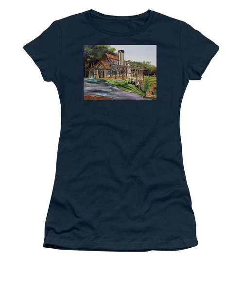 Women's T-Shirt (Athletic Fit) featuring the painting Engelheim In The Morning - Vineyard - Ellijay, Ga by Jan Dappen