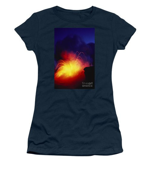 Exploding Lava And Person Women's T-Shirt (Junior Cut) by Greg Vaughn - Printscapes