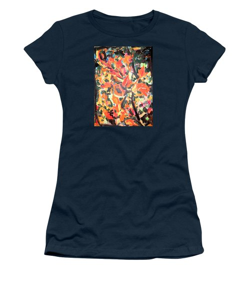 Fall Forest In Red And Black Women's T-Shirt (Junior Cut)