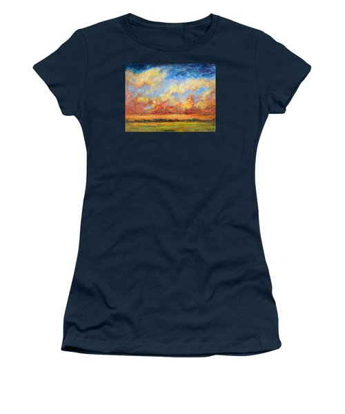 Women's T-Shirt (Junior Cut) featuring the painting Feathered Sky by Mary Schiros