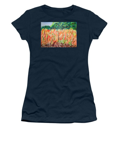 Women's T-Shirt (Junior Cut) featuring the painting Fiery Bushes by Esther Newman-Cohen