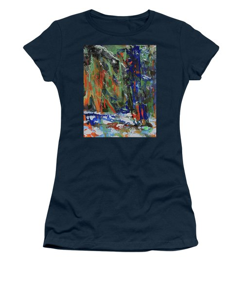 Women's T-Shirt (Athletic Fit) featuring the painting First Snow Over Tenaya Creek by Walter Fahmy