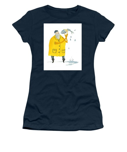 Women's T-Shirt (Junior Cut) featuring the painting Fisherman by Leanne WILKES