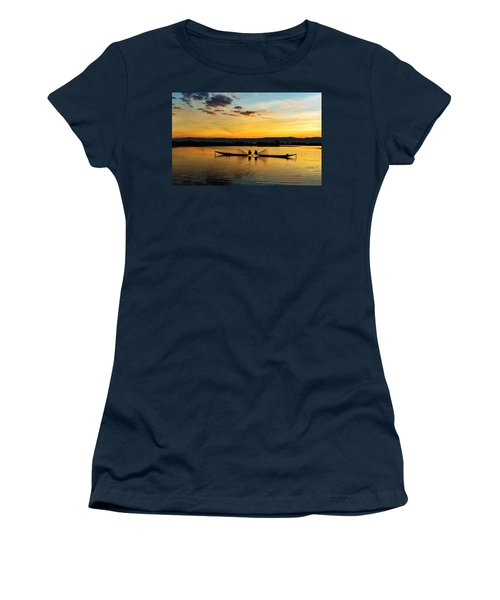 Women's T-Shirt featuring the photograph Fisherman On Their Boat by Pradeep Raja Prints