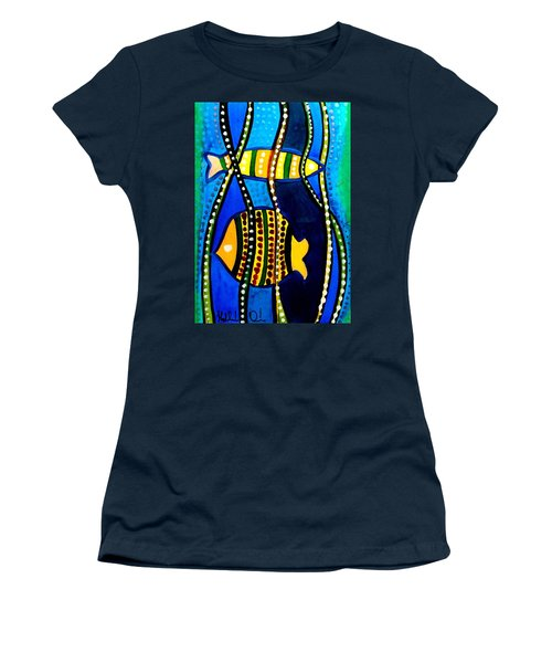 Women's T-Shirt (Junior Cut) featuring the painting Fishes With Seaweed - Art By Dora Hathazi Mendes by Dora Hathazi Mendes