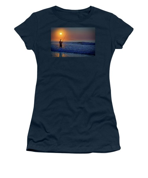 Women's T-Shirt (Athletic Fit) featuring the photograph Fishing At Sunrise by Rick Berk