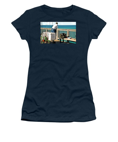 Fishing At The Pier Women's T-Shirt (Athletic Fit)