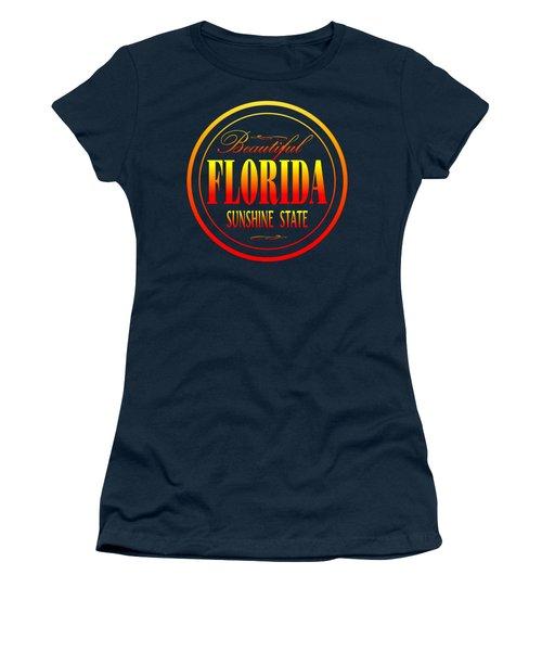 Florida Sunshine State - Tshirt Design Women's T-Shirt (Junior Cut) by Art America Gallery Peter Potter