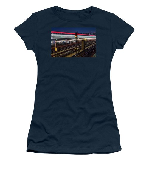 Women's T-Shirt (Athletic Fit) featuring the photograph Flushing 7 Train And Nyc Skyline by Susan Candelario