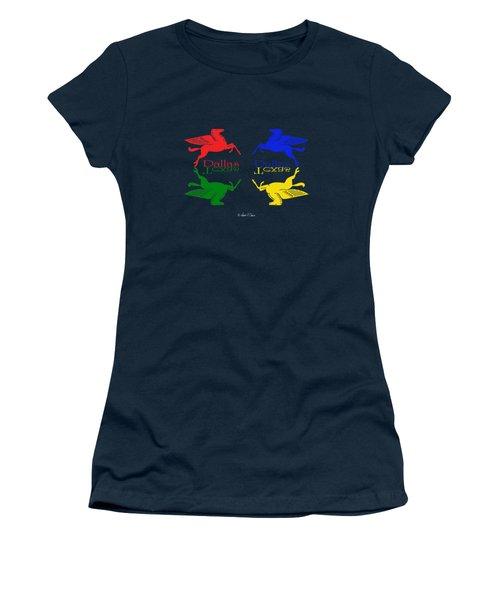 Flying Red Green Blue Yellow Horse Dallas Texas Reflections Women's T-Shirt (Junior Cut) by Robert J Sadler