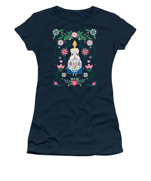 Folk Art Forest Fairy Tale Fraulein Women's T-Shirt (Athletic Fit)