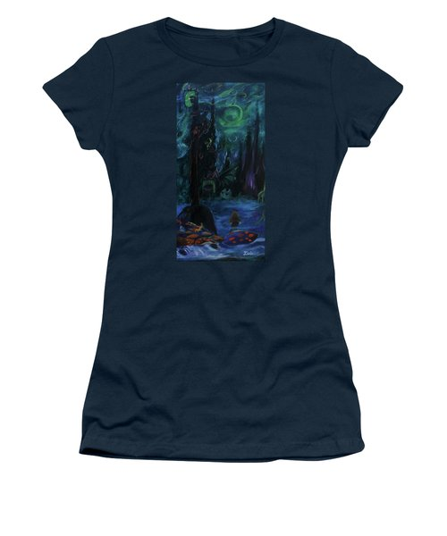 Women's T-Shirt (Junior Cut) featuring the painting Forbidden Forest by Christophe Ennis