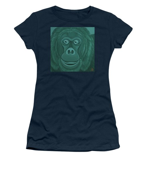 Forest Green Orangutan Women's T-Shirt (Athletic Fit)
