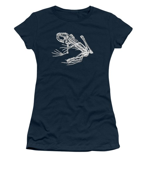 Frog Skeleton In Silver On Blue  Women's T-Shirt (Athletic Fit)