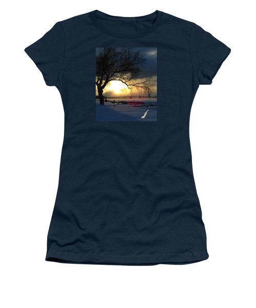 Women's T-Shirt (Athletic Fit) featuring the photograph Frosty Morning Sturgeon Bay Harbor by Perry Andropolis