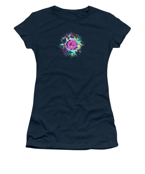 Fruity Rose   Fancy Colorful Abstraction Pattern Design  Green Pink Blue  Women's T-Shirt