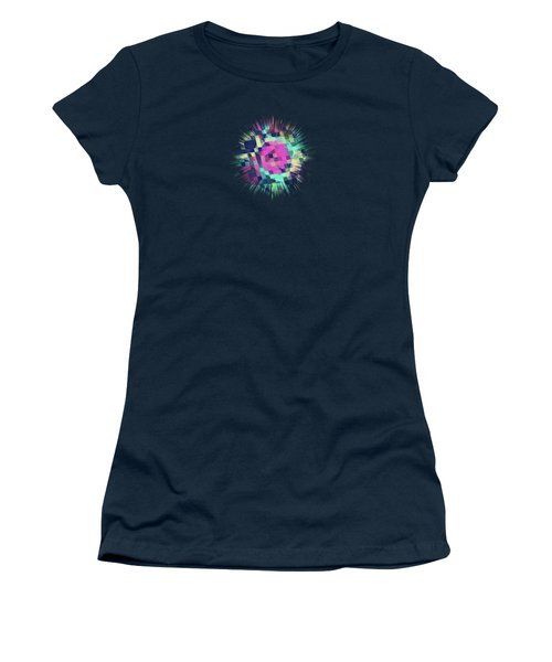 Fruity Rose   Fancy Colorful Abstraction Pattern Design  Green Pink Blue  Women's T-Shirt (Athletic Fit)