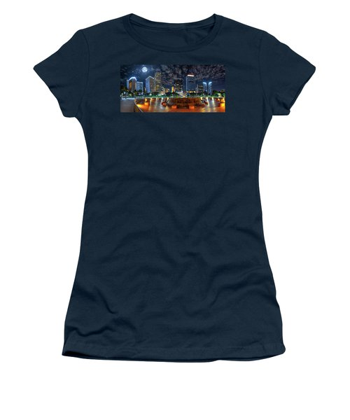 Full Moon Over Bayfront Park In Downtown Miami Women's T-Shirt