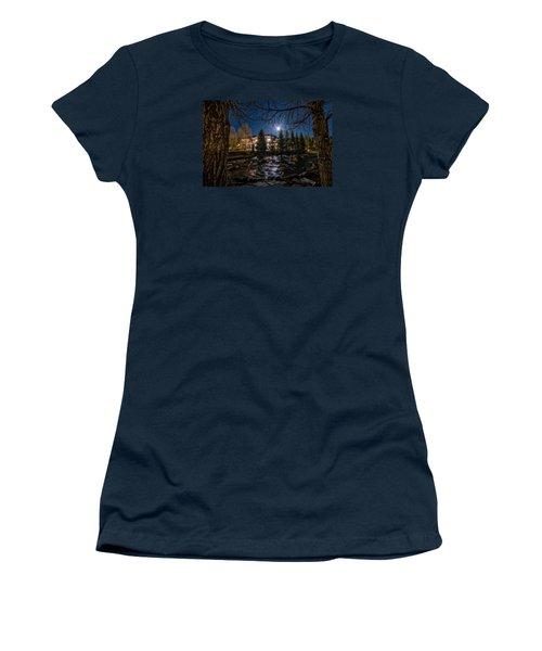 Full Moon Over Breckenridge Women's T-Shirt (Junior Cut) by Michael J Bauer