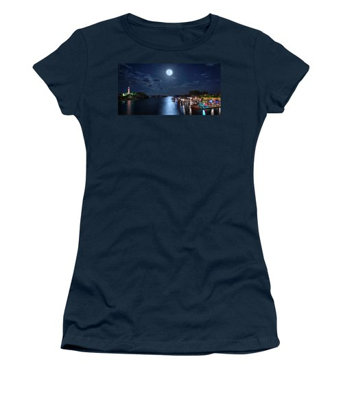 Full Moon Over Jupiter Lighthouse And Inlet In Florida Women's T-Shirt
