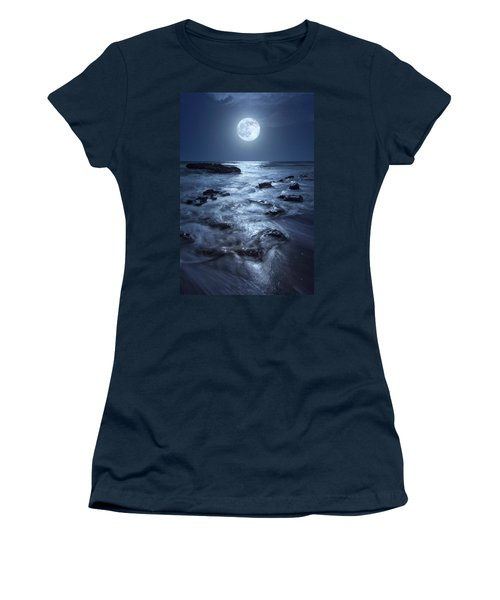 Full Moon Rising Over Coral Cove Beach In Jupiter, Florida Women's T-Shirt