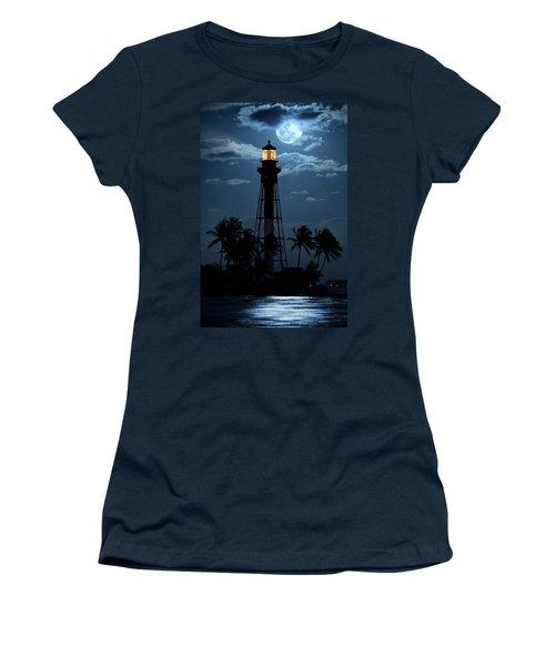 Full Moon Rising Over Hillsboro Lighthouse In Pompano Beach Florida Women's T-Shirt