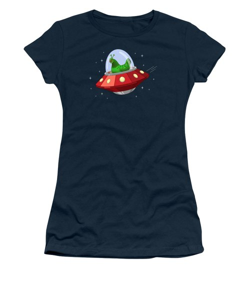 Funny Green Alien Martian Chicken In Flying Saucer Women's T-Shirt (Athletic Fit)