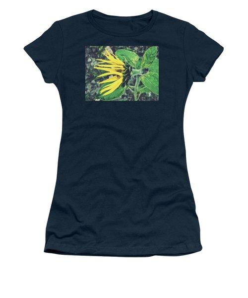 Women's T-Shirt (Junior Cut) featuring the photograph Funny Sunflower by Karen Stahlros