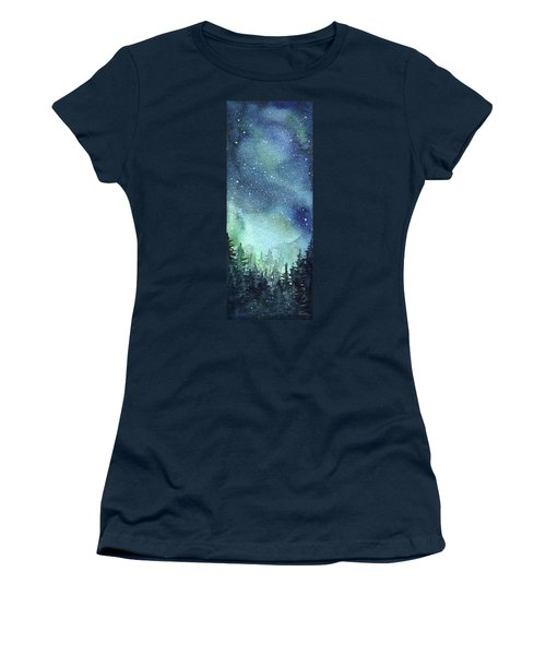 Galaxy Watercolor Aurora Painting Women's T-Shirt