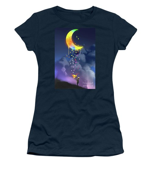 Women's T-Shirt featuring the painting Gifts From The Moon by Tithi Luadthong