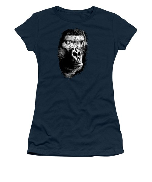 Women's T-Shirt featuring the photograph Gorilla Canvas Print, Photographic Print, Art Print, Framed Print, Greeting Card, Iphone Case, by David Millenheft