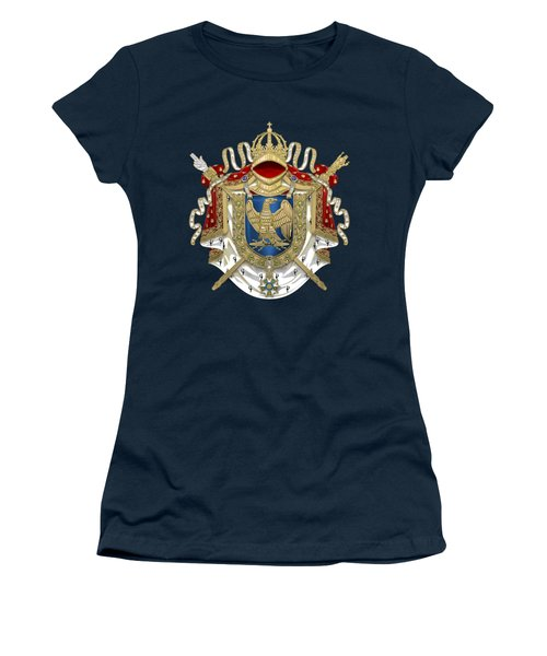 Greater Coat Of Arms Of The First French Empire Over Blue Velvet Women's T-Shirt