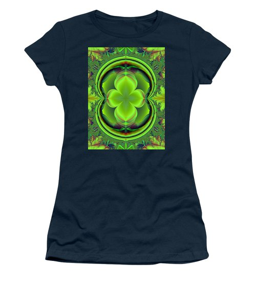 Women's T-Shirt (Junior Cut) featuring the digital art Green Clover by Svetlana Nikolova