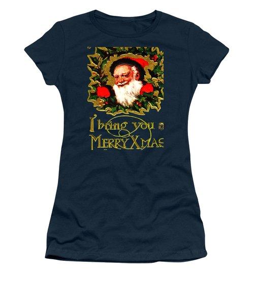 Women's T-Shirt (Junior Cut) featuring the digital art Greetings From Santa by Asok Mukhopadhyay