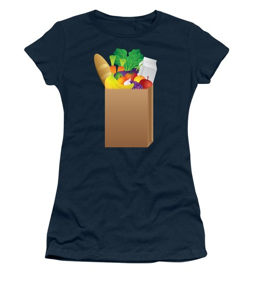 Grocery Paper Bag Of Food Illustration Women's T-Shirt (Athletic Fit)