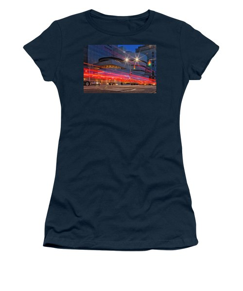 Women's T-Shirt (Athletic Fit) featuring the photograph Guggenheim Museum Nyc Light Streaks by Susan Candelario